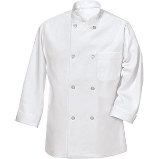 Red Kap 8 Button Unisex Chef Coat With Thermometer Pocket - Click for Large View