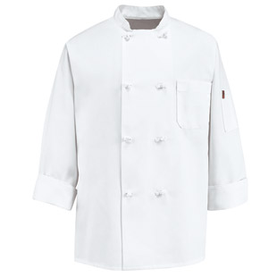 Red Kap 8 Button Unisex Knot Button Chef Coat - Click for Large View