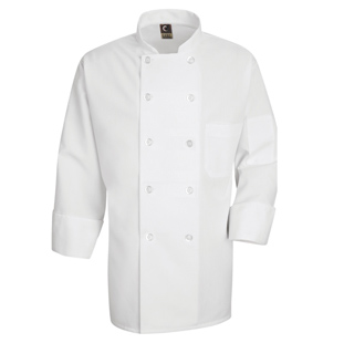 100% Spun Polyester Unisex Chef Coat - Click for Large View