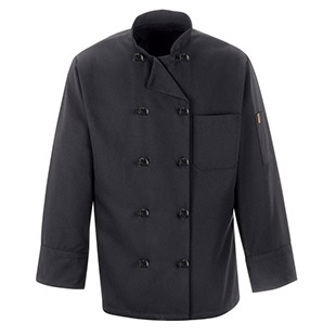 100% Spun Polyester Black Chef Coat - Click for Large View