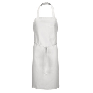 White Bib Apron with Pencil Pocket - Click for Large View