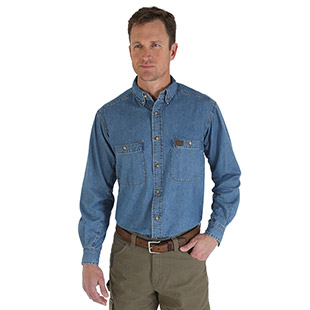 Wrangler Riggs Workwear Long Sleeve Button Down Solid Denim Work Shirt - Click for Large View