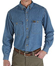 Wrangler Riggs Workwear Long Sleeve Button Down Solid Denim Work Shirt