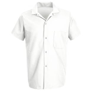 Chef Designs Unisex 80/20 Blend White Snap Front Cook Shirt - Click for Large View