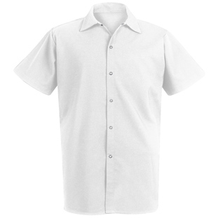 Chef Designs Unisex Long White 100% Spun Polyester Cook Shirt - Click for Large View