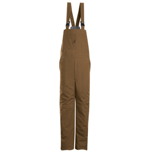 Bulwark Flame Resistant Deluxe Brown Duck Insulated Bib Overalls - Click for Large View