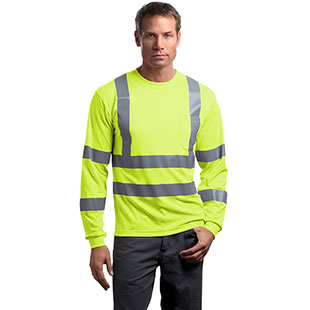 CornerStone ANSI 107 Class 3 Long Sleeve Snag-Resistant Reflective T-Shirt - Click for Large View
