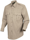 Men's Stretch Poplin Long Sleeve Silver Tan Shirt