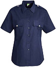 Women's Stretch Poplin Short Sleeve Dark Navy Shirt