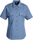 Women's Stretch Poplin Short Sleeve Light Blue Shirt