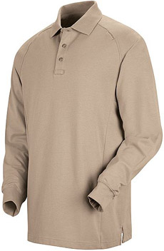 Unisex Special Ops Silver Tan Long Sleeve Polo - Click for Large View