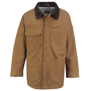 Flame Resistant Brown Duck Lineman Coat with Laynard Access - Click for Large View