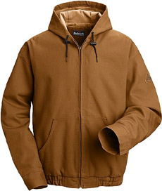 Flame Resistant Comfortouch Brown Duck Hooded Jacket with Laynard Access - Click for Large View