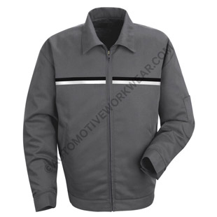 Red Kap Slash Pocket Technician Jacket with Dual Chest Striping - Click for Large View