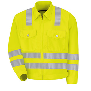 Red Kap Hi Visibility Ike Jacket  - Type R, Class 3 - Click for Large View