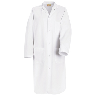 Chef Designs 100% Polyester Butcher Coat with Pockets (1 inside and 2 outside) - Click for Large View