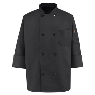 Red Kap Black Traditional Chef Coats - Click for Large View