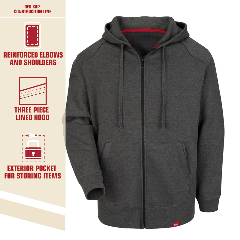 Red Kap Workwear Zip Front Heavyweight Hoodie - Click for Large View