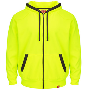 Closeout - Red Kap Full-Zip Fluorescent Work Hoodie - Click for Large View