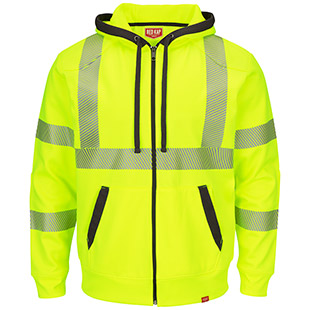 Red Kap Full Zip ANSI Hi Visibility Work Hoodie - Class 3 Level 2 - Click for Large View