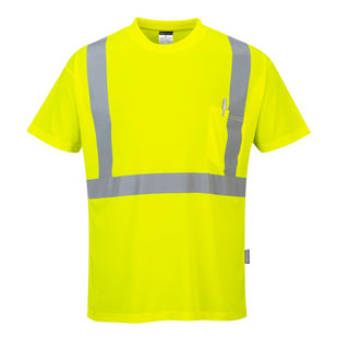 Portwest Hi-Vis Short Sleeve Pocket T-Shirt - Type R, Class 2 - Click for Large View