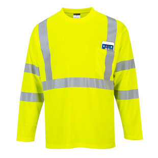 Portwest Hi-Vis Long Sleeve Pocket T-Shirt - Type R, Class 3 - Click for Large View