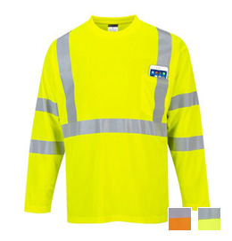 Portwest Hi-Vis Long Sleeve Pocket T-Shirt - Type R, Class 3