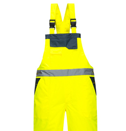 Portwest Lined Hi Vis Contrast Rain Bib And Brace Overall
