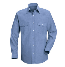 Red Kap Men's Western Style Long Sleeve Chambray Uniform Shirt