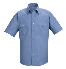Red Kap Men's Western Style Short Sleeve Chambray Uniform Shirt