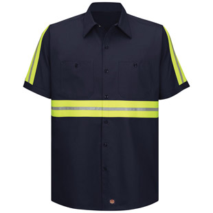 Red Kap Enhanced Visibility Cotton S/S Work Shirt - Click for Large View