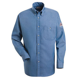 Bulwark Flame Resistant Button Front Cotton Denim Dress Uniform Shirt