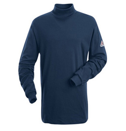Flame Resistant Long Sleeve Cotton Tagless Mock Turtle Neck