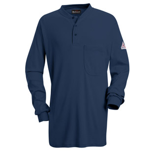 Bulwark Flame Resistant Excel-FR Long Sleeve Tagless Henley Shirt - Click for Large View