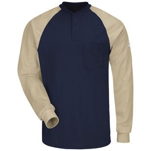 Bulwark Flame Resistant Long Sleeve Color-Blocked Tagless Henley Shirt - Click for Large View
