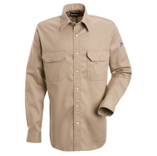 Bulwark Flame Resistant Excel-FR Cotton Snap Front Deluxe Shirt - Click for Large View