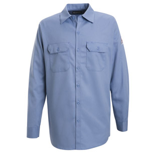 Bulwark Flame Resistant Excel-FR Cotton Button Front Work Shirts - Click for Large View