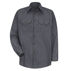 Men's Heathered Poplin Long Sleeve Uniform Shirt