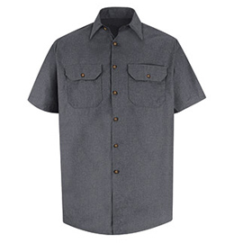 Men's Heathered Poplin Short Sleeve Uniform Shirt