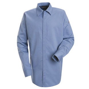 Bulwark FR 7.0 oz Cotton Blend Concealed Gripper Pocketless Shirt - Click for Large View