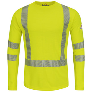 Bulwark Flame Resistant High Visibility Long Sleeve T-Shirt - Class 3 Level 2 - Click for Large View