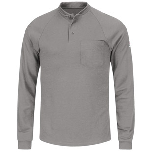 Bulwark Flame Resistant Cool Touch 2 Tagless Long Sleeve Henley Shirt - Click for Large View