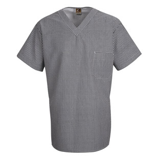 Chef Designs Unisex Checked V-Neck Chef Shirt - Click for Large View