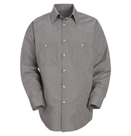 Men's Micro-Check Long Sleeve Work Shirt