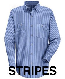 Red Kap Men's Striped Industrial Long Sleeve Work Shirt