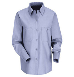 Women's Solid Color Long Sleeve Industrial Work Shirt
