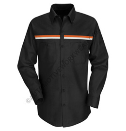Men's Long Sleeve Workshirt with Dual Chest Stripe