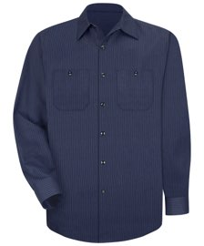 Red Kap Men's Durastripe Long Sleeve Work Shirt