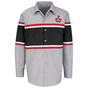 Mitsubishi Striped Technician Long Sleeve Shirt - Click for Large View