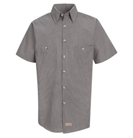 Men's Micro-Check Short Sleeve Work Shirt